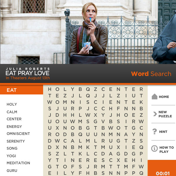 Eat Pray Love - Word Search Game